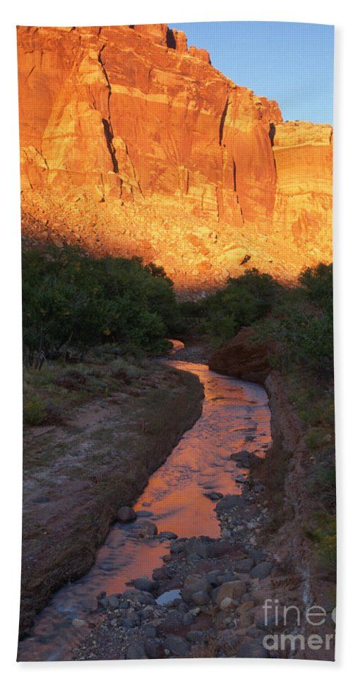 Southwest Hand Towel featuring the photograph Sunset Reflection - Fremont River by Sandra Bronstein