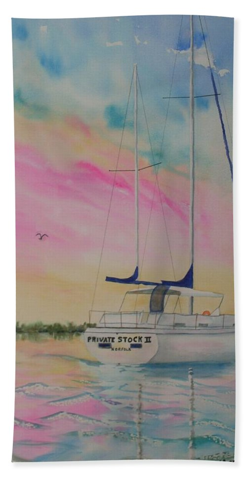 Sunset Sail 3 Bath Towel featuring the painting Sunset Sail 3 by Warren Thompson