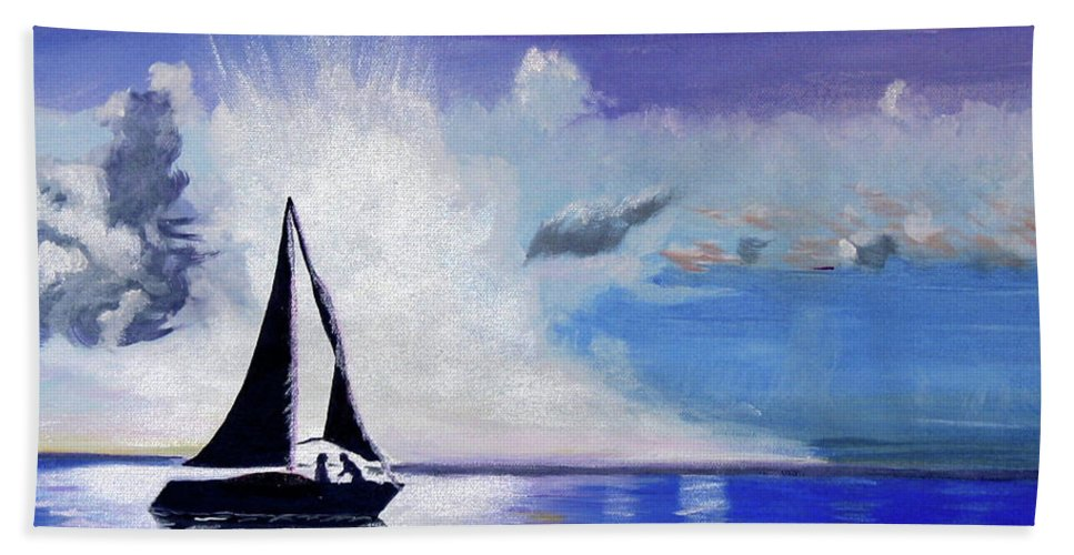 Sail Boat Bath Sheet featuring the painting Sunset Sail by Phyllis Kaltenbach