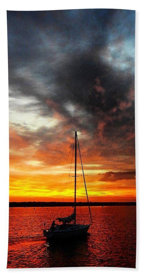 Sunset Hand Towel featuring the photograph Sunset Sailboat by Greg Kear