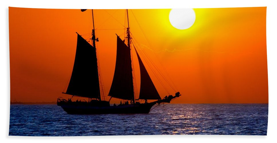 Yellow Bath Sheet featuring the photograph Sunset Sailing In Key West Florida by Michael Bessler