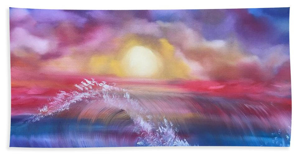 Sunset Bath Sheet featuring the drawing Sunset Sea by Ellen Jagger
