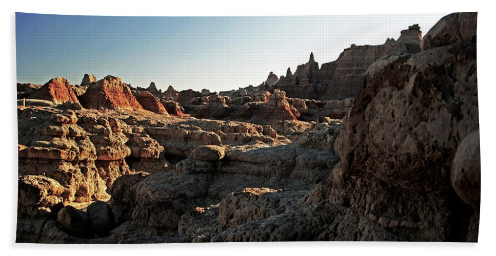 Badlands National Park Hand Towel featuring the photograph Sunset Shadows In The Badlands by Glenn W Smith