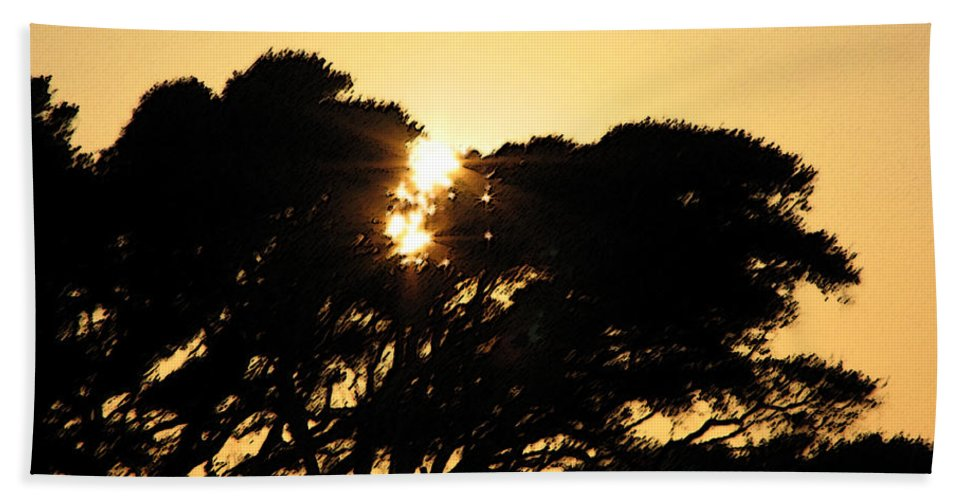 Tree Bath Sheet featuring the digital art Sunset Silhouette II by Stacey May