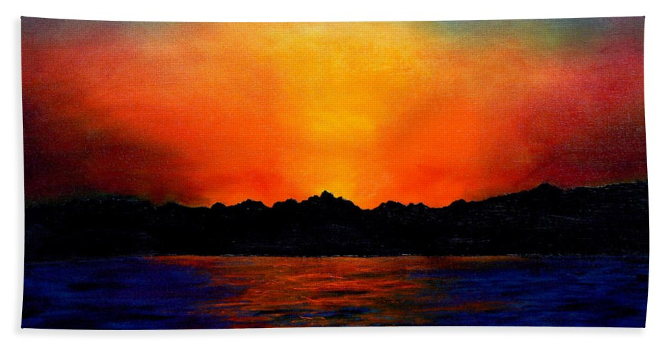 Sinai Sunset Bath Towel featuring the painting Sunset Sinai by Helmut Rottler