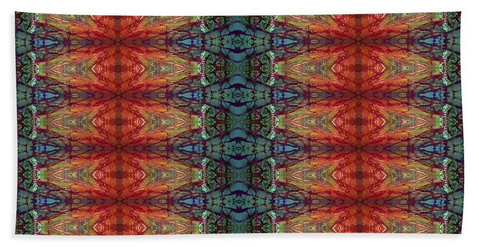 Batik Hand Towel featuring the painting Sunset Strip Tiled by Sue Duda
