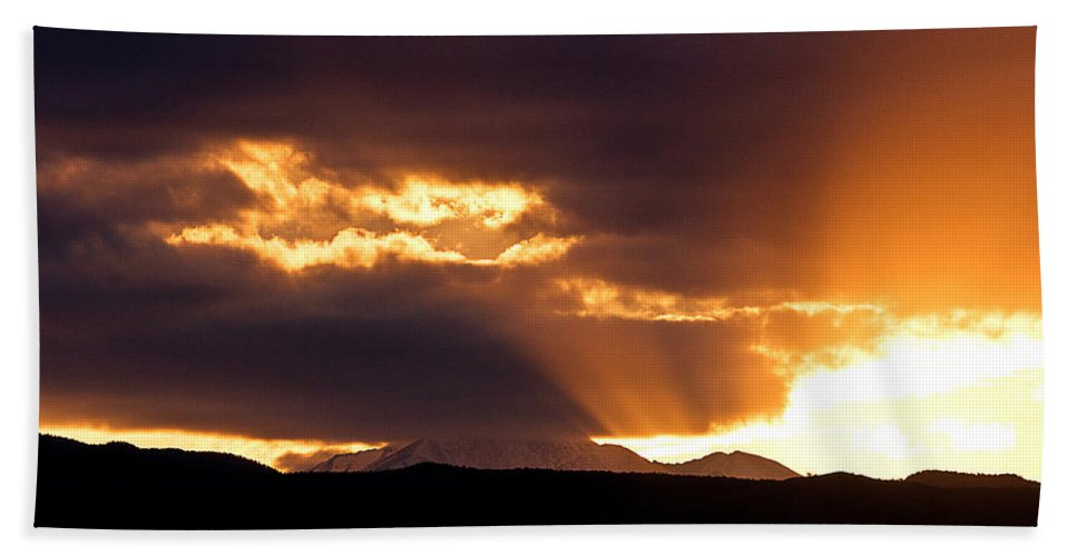 Sunset Bath Sheet featuring the photograph Sunset Sunbeams by James BO Insogna