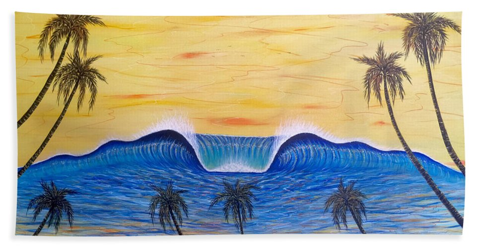 Abstractart Bath Towel featuring the painting Sunset Surf Dream by Paul Carter