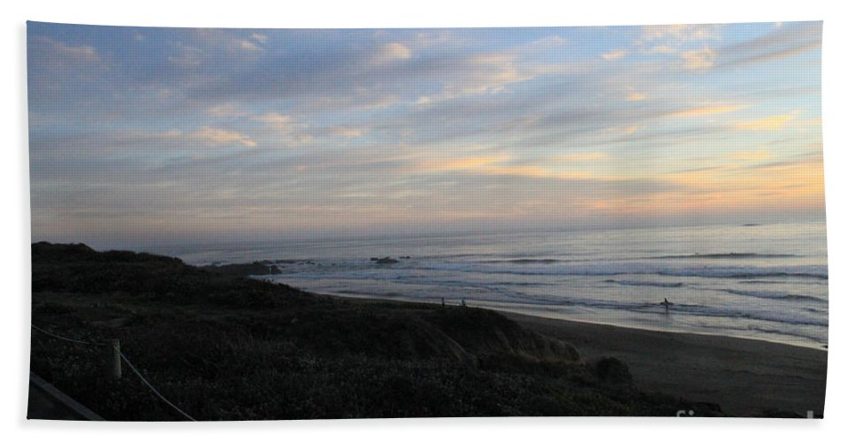 Surf Hand Towel featuring the photograph Sunset Surf by Linda Woods