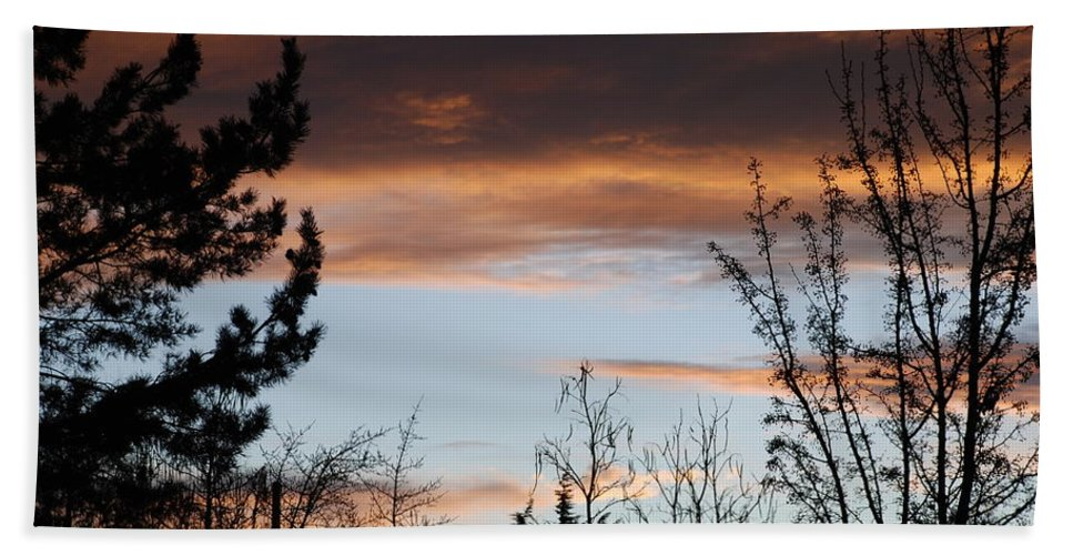 Sunset Bath Sheet featuring the photograph Sunset Thru The Trees by Rob Hans