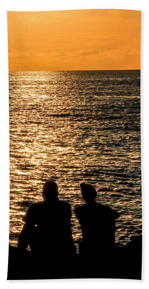 Beach Hand Towel featuring the photograph Sunset Together In Key West by Bob Slitzan