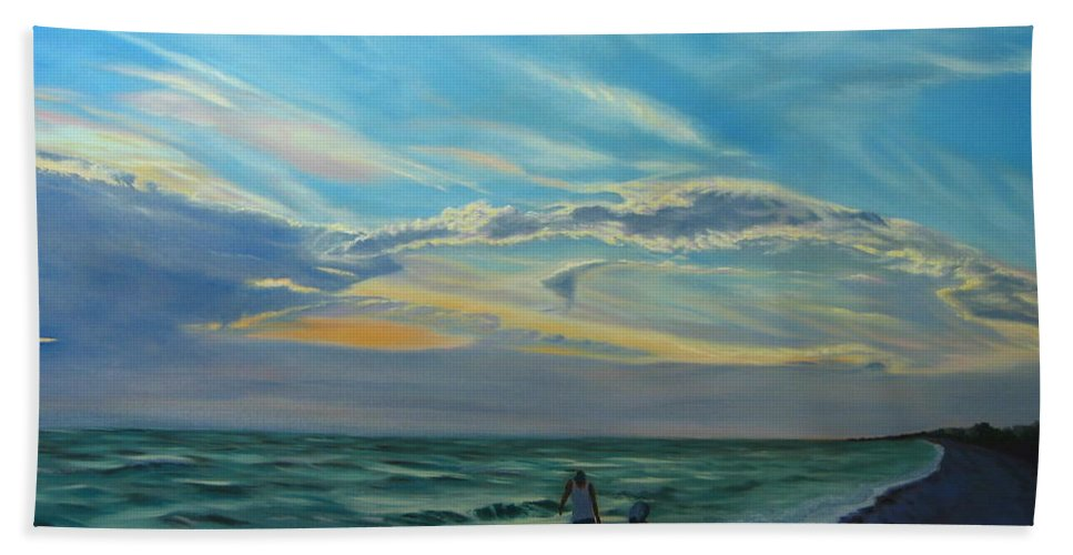 Seascape Bath Towel featuring the painting Sunset Treasure Hunt by Lea Novak