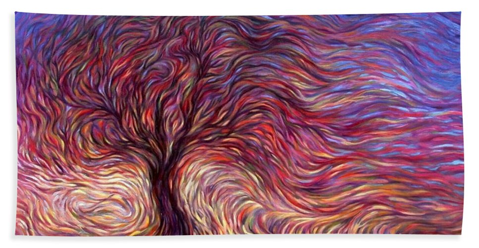Tree Bath Towel featuring the painting Sunset Tree by Hans Droog