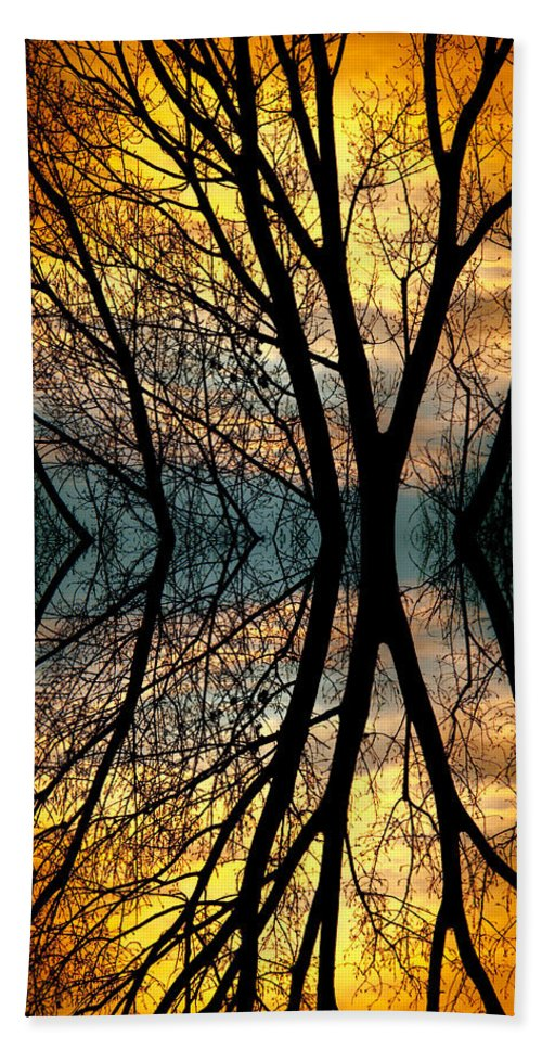 Abstract Bath Sheet featuring the photograph Sunset Tree Silhouette Abstract 3 by James BO Insogna