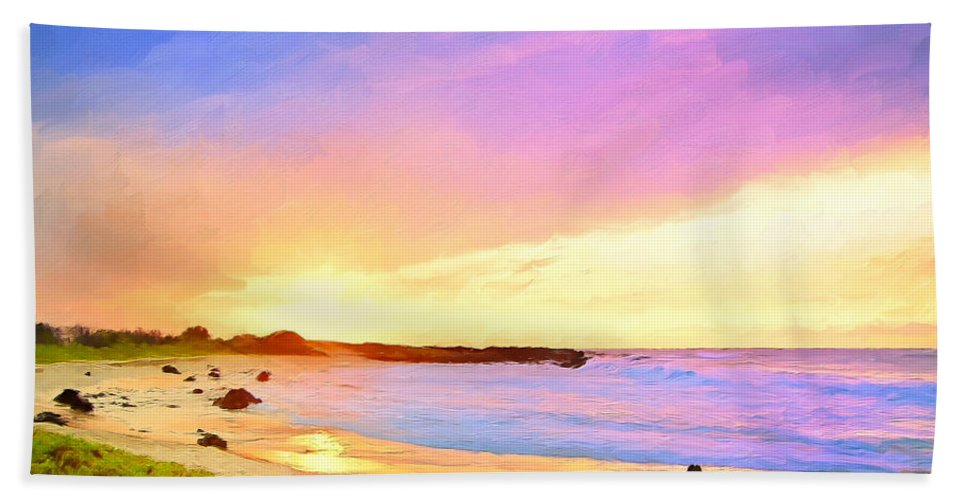 Hawaii Hand Towel featuring the painting Sunset Walk by Dominic Piperata