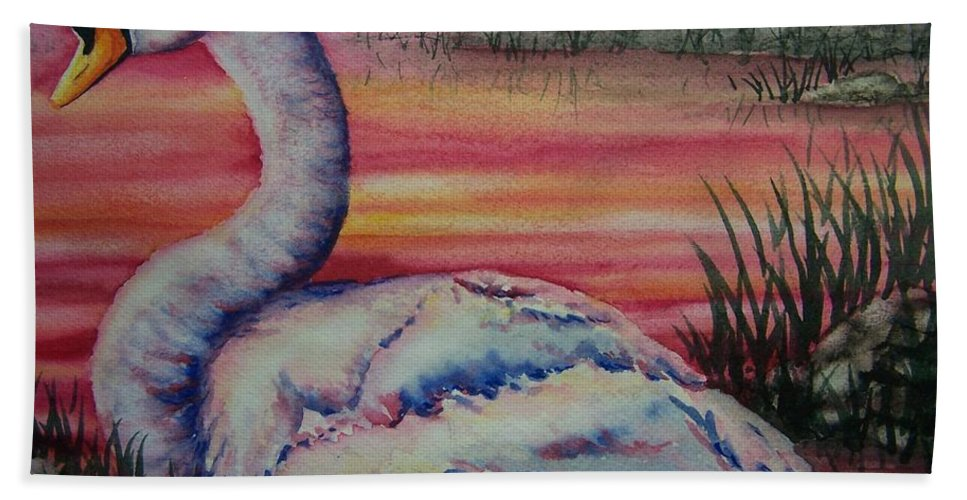 Geese Bath Sheet featuring the painting Sunset Watcher by Conni Reinecke