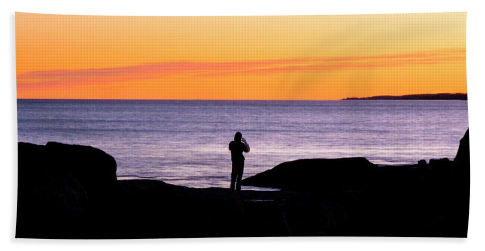 Sunset Hand Towel featuring the photograph Sunset Watcher by Greg Fortier