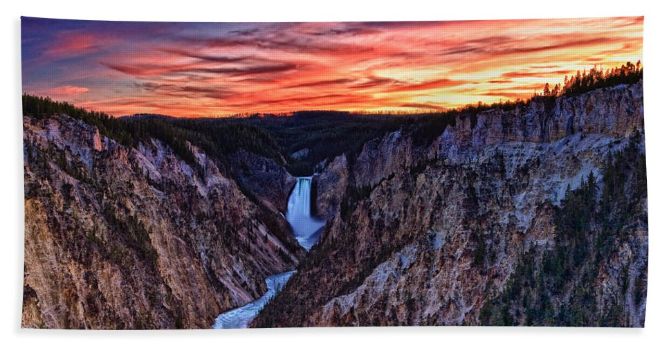 Nature Hand Towel featuring the photograph Sunset Waterfall by John K Sampson