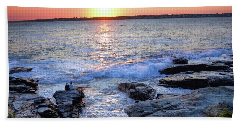 Waves Hand Towel featuring the photograph Sunset Waves by Melissa Hicks