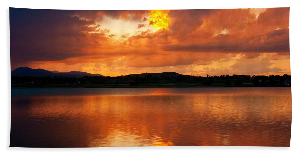 Golden Bath Sheet featuring the photograph Sunset With A Golden Nugget by James BO Insogna