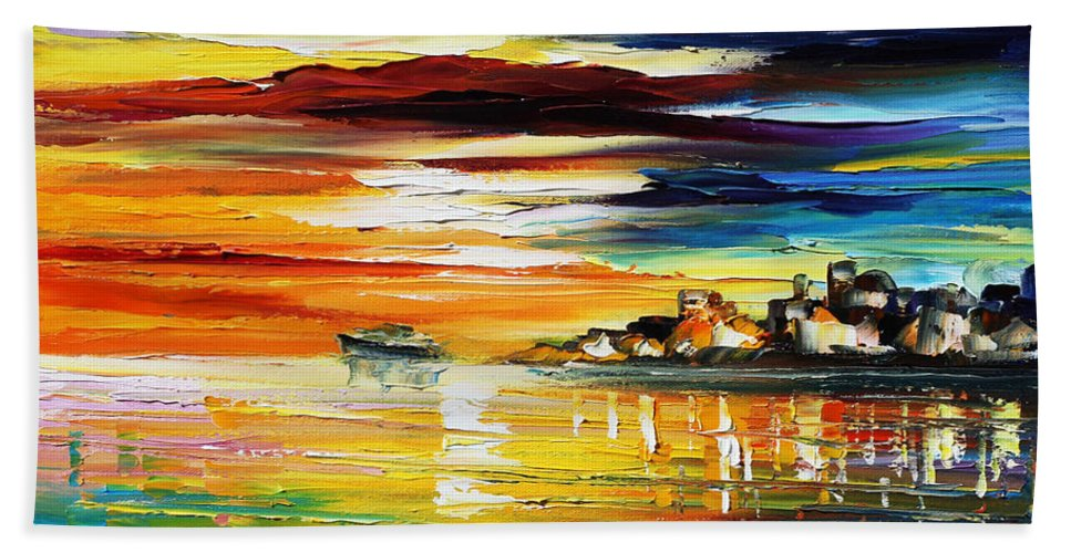 Afremov Hand Towel featuring the painting Sunset's Smile by Leonid Afremov