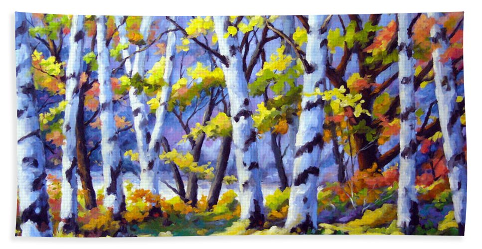 Art Bath Towel featuring the painting Sunshine And Birches by Richard T Pranke