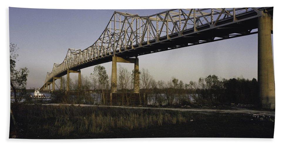 Bridge Hand Towel featuring the photograph Sunshine Bridge by Herman Robert