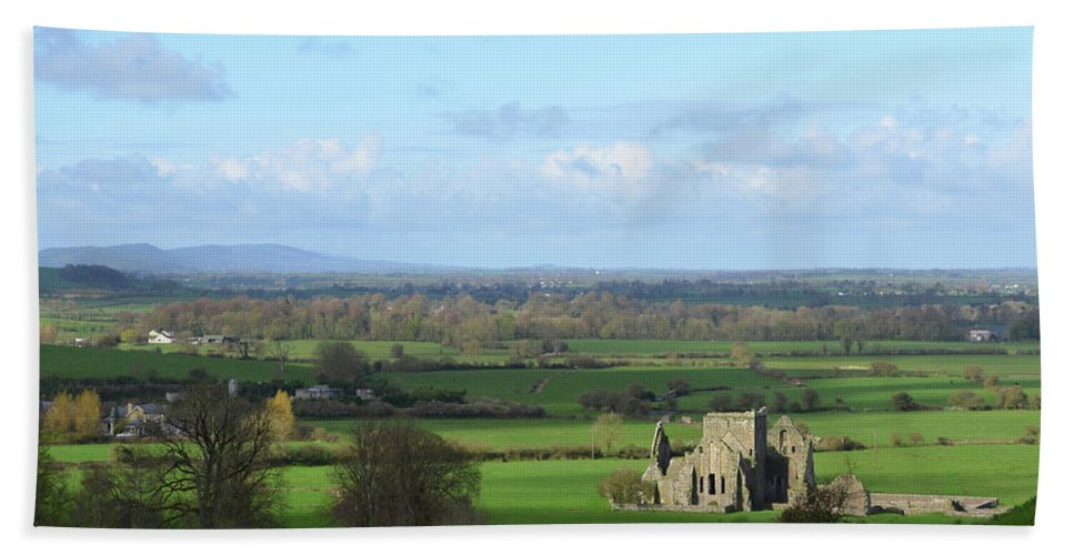 Hore Abbey Hand Towel featuring the photograph Sunshine Falling On The Ruins Of Hore Abbey by DejaVu Designs