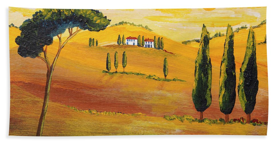 Tuscan Bath Sheet featuring the painting Sunshine In Tuscany In The Morning by Christine Huwer