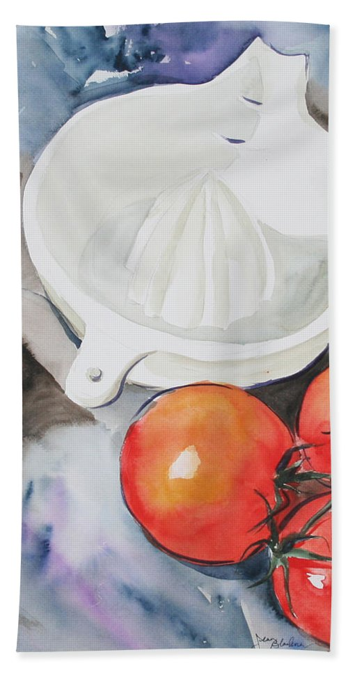 Tomatoes Bath Towel featuring the painting Sunshine On The Vine by Jean Blackmer