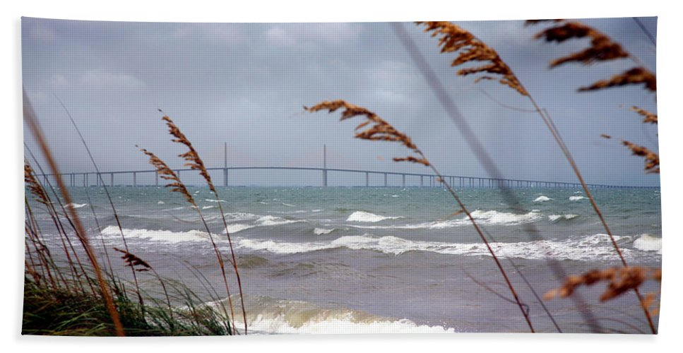 Sunshine Hand Towel featuring the photograph Sunshine Skyway Bridge Viewed From Fort De Soto Park by Mal Bray