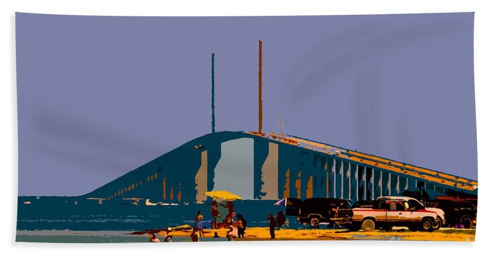 Sunshine Skyway Bridge Bath Sheet featuring the photograph Sunshine Skyway by David Lee Thompson