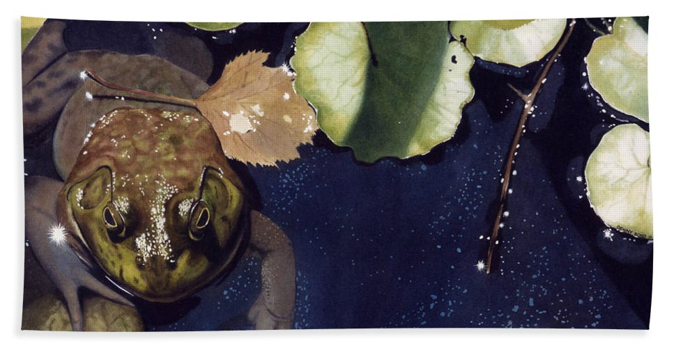 Frog Hand Towel featuring the painting Sunspots by Denny Bond