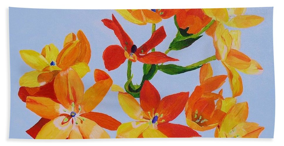 Flowers Bath Sheet featuring the painting Sunstar by Rodney Campbell
