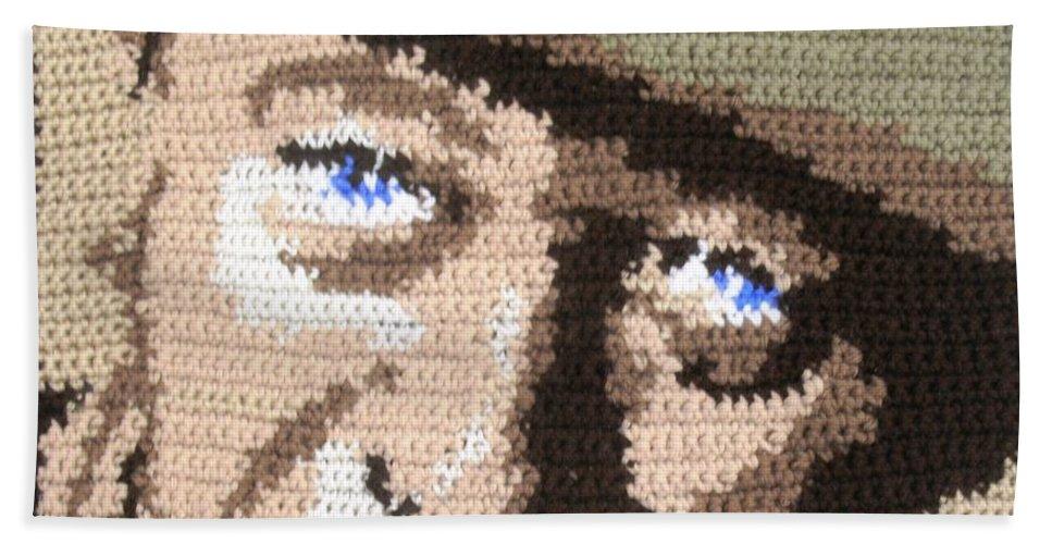John Wayne Hand Towel featuring the digital art Suntan John Wayne by Cathy Marina