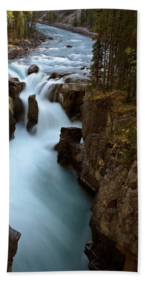 Gorge Hand Towel featuring the digital art Sunwapta Falls In Jasper National Park by Mark Duffy