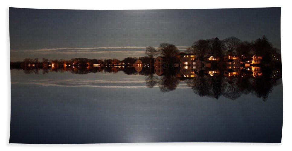 Night  Bath Sheet featuring the photograph super moon night  Connecticut by Mark Ashkenazi