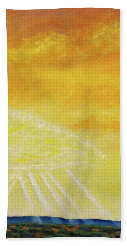 Landscape Bath Towel featuring the painting Super Seven by Brian Commerford