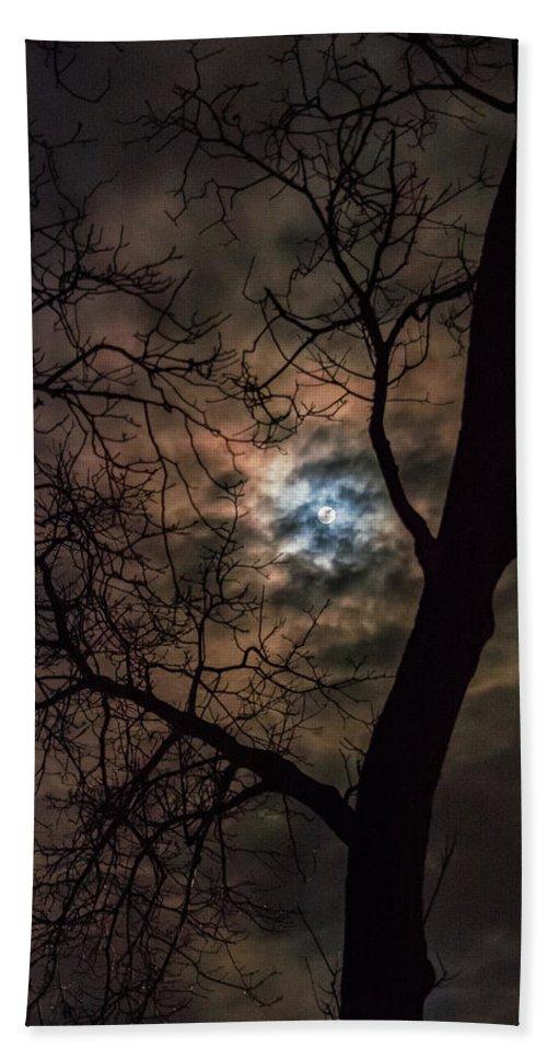 Night Bath Sheet featuring the photograph Supermoon W Tree 12-13-16 by Krystal Billett