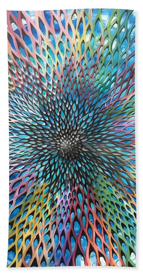 Abstract Bath Sheet featuring the painting Supernova by Ellen Jagger