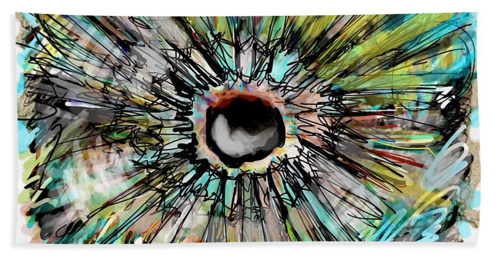 Abstract Hand Towel featuring the digital art Supernova by Ricardo Mester