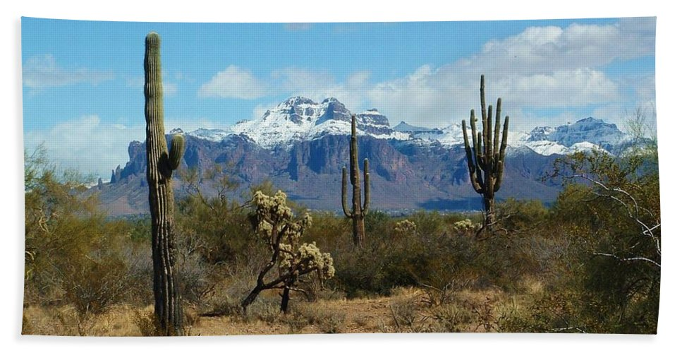Superstition Mountain Bath Sheet featuring the photograph Superstition Snow by Marilyn Smith