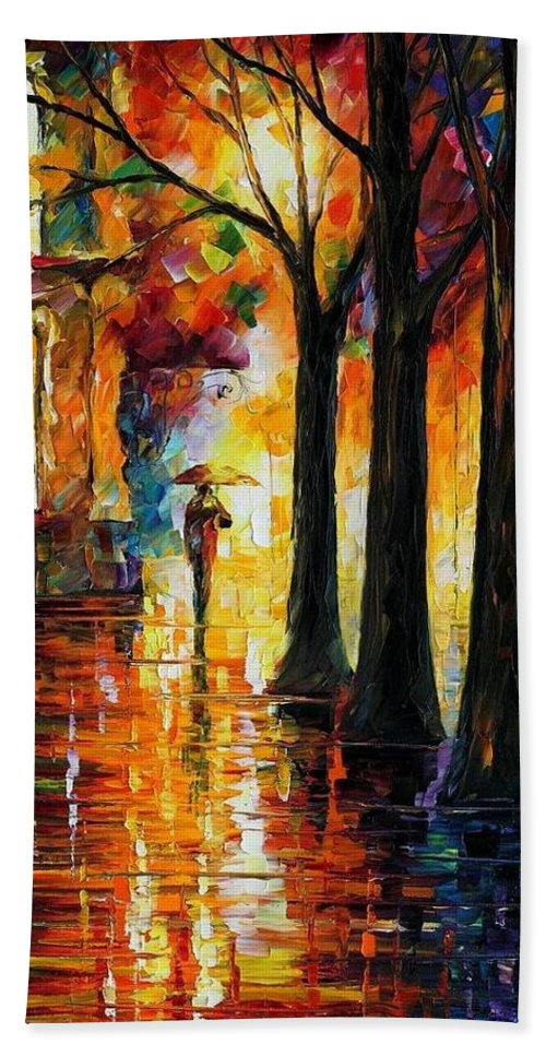 Afremov Bath Sheet featuring the painting Suppressed Memories by Leonid Afremov