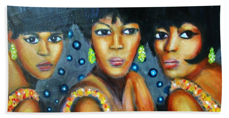 Singers Hand Towel featuring the painting Supremes by Jan Gilmore