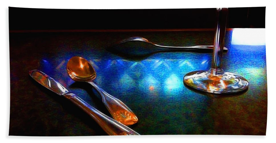 Table Hand Towel featuring the digital art Sur La Table by Donna Blackhall