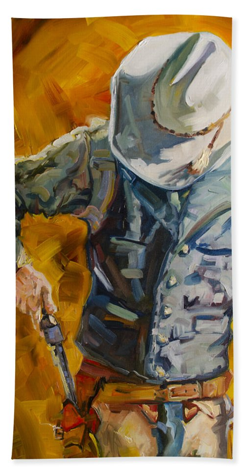 Cowboy Bath Towel featuring the painting Sure Shot by Diane Whitehead