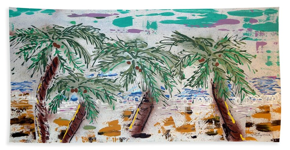 Abstract Hand Towel featuring the painting Surf and Palms by J R Seymour