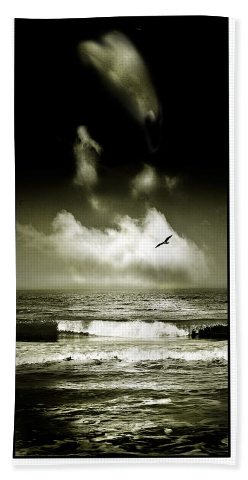 Waves Bath Sheet featuring the photograph Surf And Sky At Rhos On Sea North Wales by Mal Bray