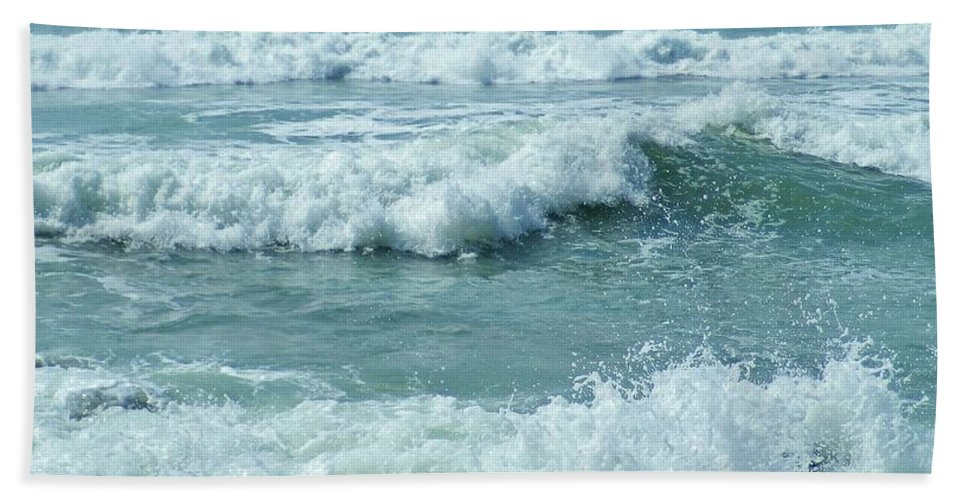Surf Hand Towel featuring the photograph Surf At Duckpool Cornwall by Richard Brookes