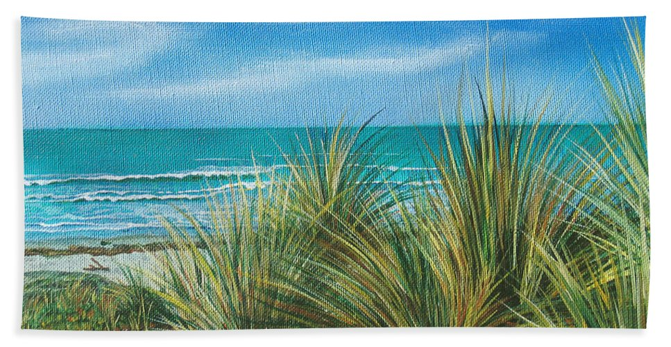 Sea Grass Hand Towel featuring the painting Surf Beach by Angie Hamlin